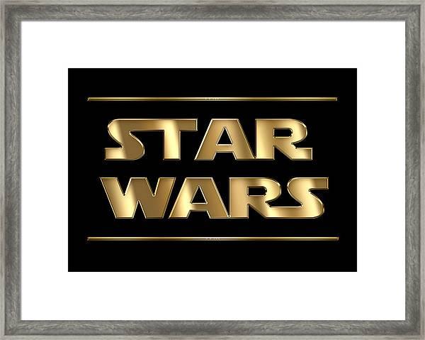 Star Wars Golden Typography On Black Framed Print