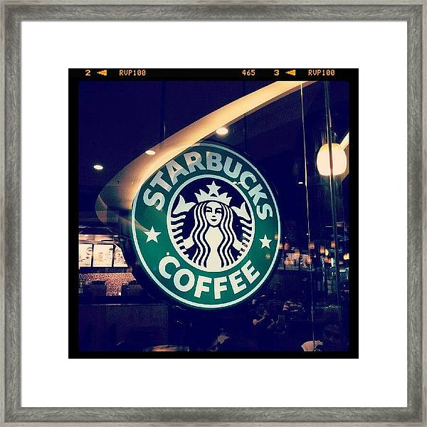 #starbucks #coffee #yummy #tasty #green Framed Print