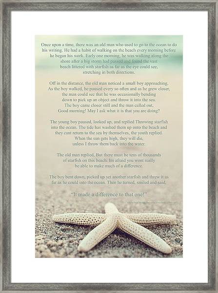 Starfish Make A Difference Vintage Set 1 Framed Print