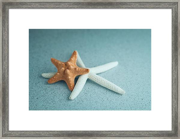Starfish On Aqua Framed Print