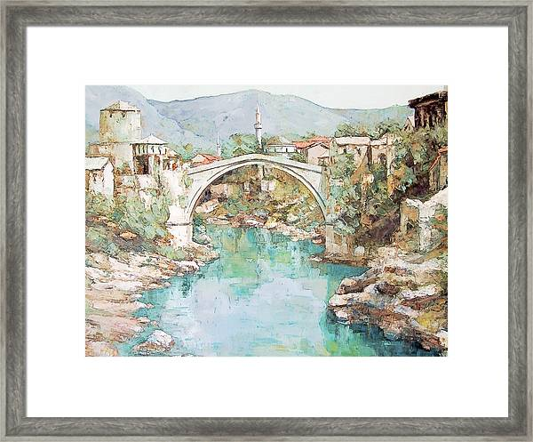 Stari Most Bridge Over The Neretva River In Mostar Bosnia Herzegovina Framed Print