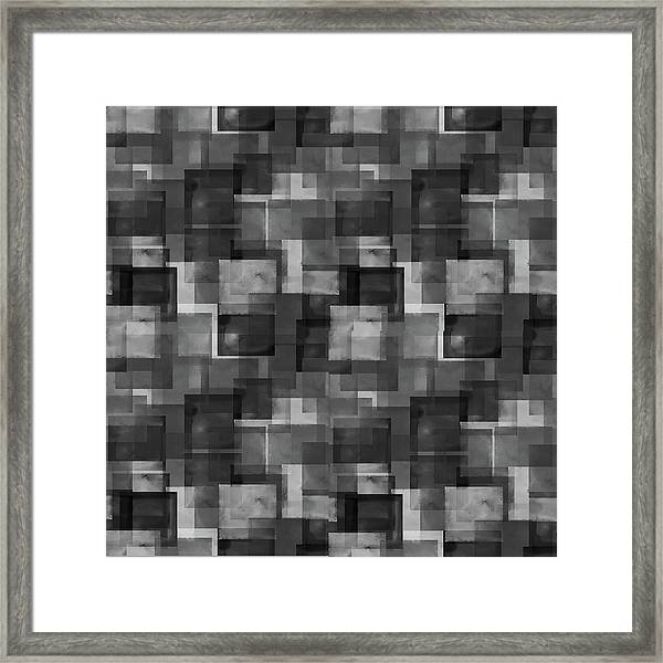 Stark Black Squares Abstract Pattern Framed Print
