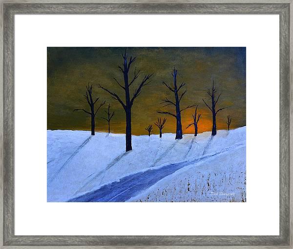 Stark Winter Sunset Framed Print