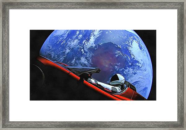 Starman In Tesla With Planet Earth Framed Print