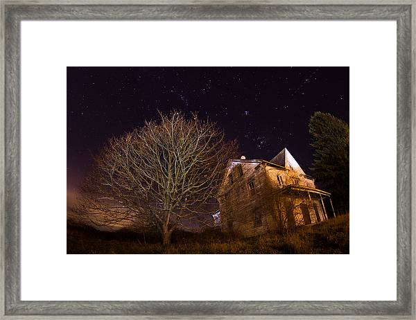 Starry Night Farmhouse Framed Print