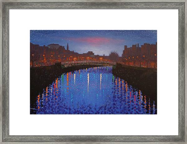 Starry Nights In Dublin Ha' Penny Bridge Framed Print