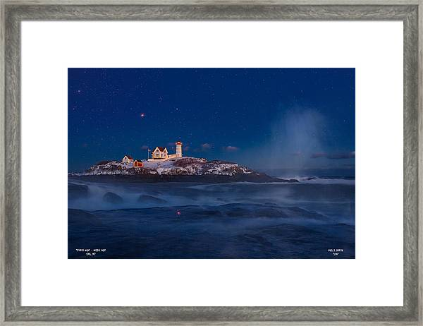 Starry Nubble Lighthouse Framed Print