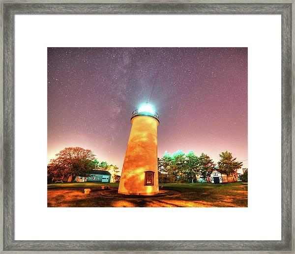 Starry Sky Over The Newburyport Harbor Light Framed Print