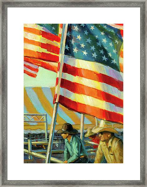 Stars, Stripes, And Cowboys Forever Framed Print