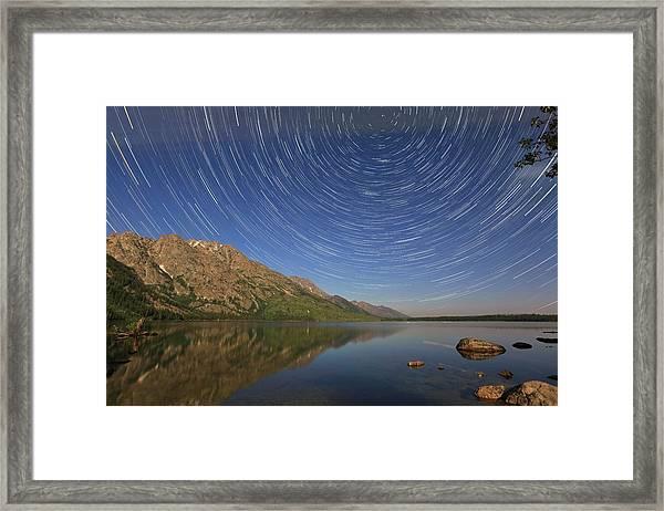 Startrails Over Jenny Lake Framed Print
