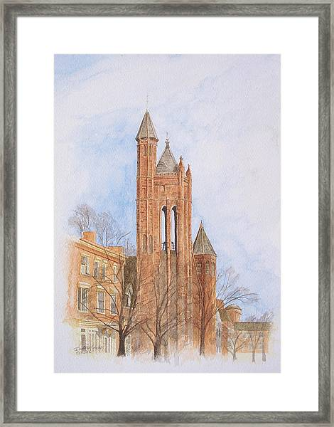 Framed Print featuring the painting State Street Church by Dominic White