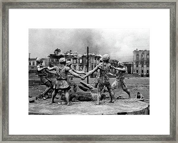 Statue Of Children After Nazi Airstrikes Center Of Stalingrad 1942 Framed Print