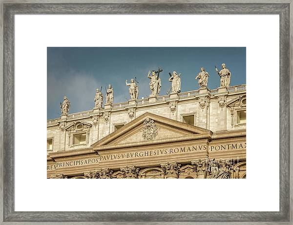 Statues Of St Peter's Basilica Framed Print