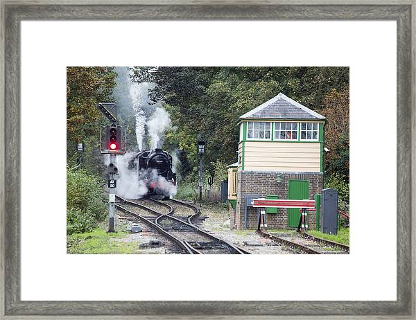 Steam Engine Approaching Alton Framed Print