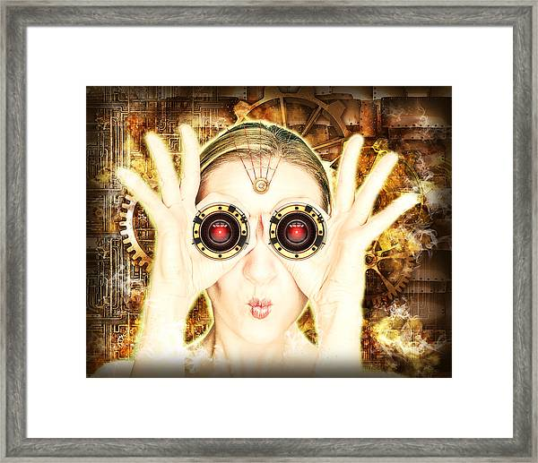 Steam Punk Lady With Bins Framed Print