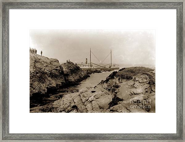 Steam Schooner S S J. B. Stetson, Ran Aground At Cypress Point, Sep. 1934 Framed Print