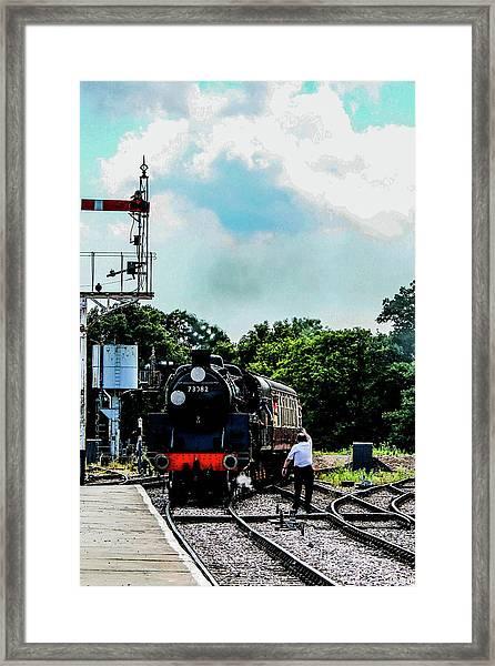 Steam Train Approaching Framed Print