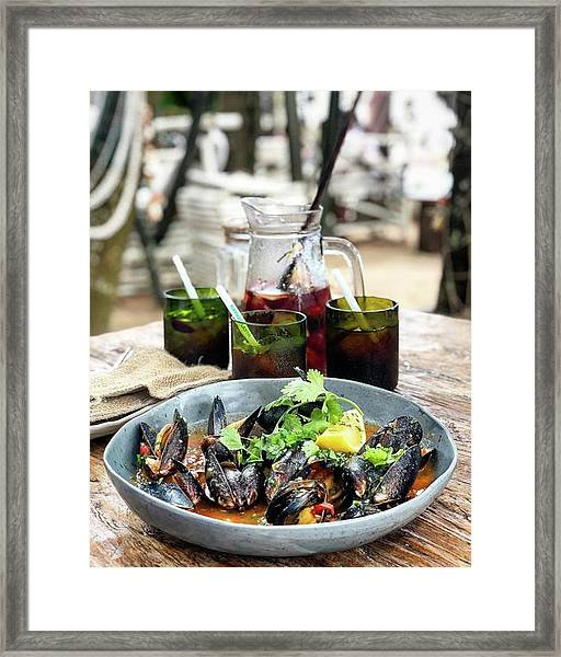 Steamed Black Mussells And Paradise Framed Print by Arya Swadharma