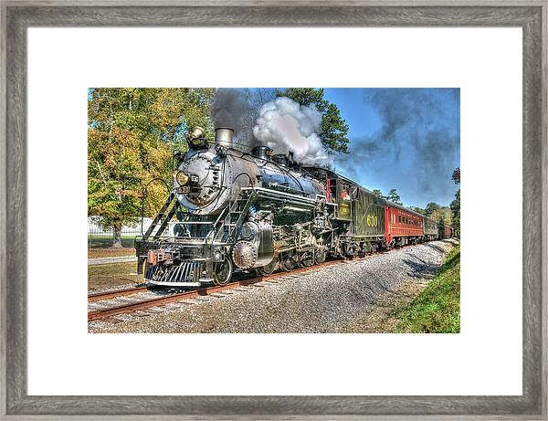 Steaming Framed Print