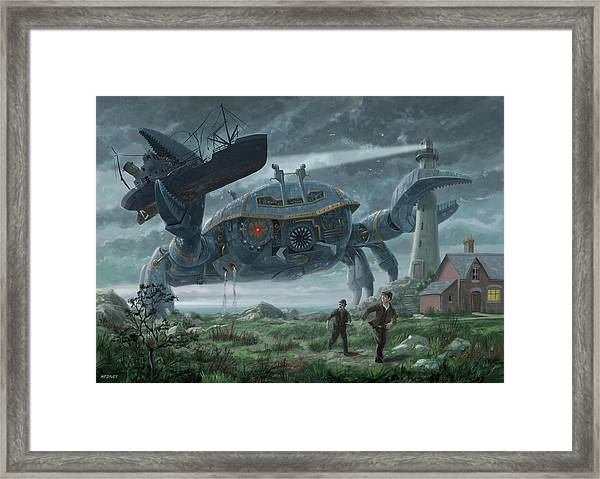 Steampunk Giant Crab Attacks Lighthouse Framed Print