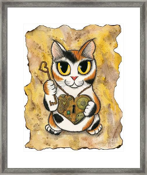 Steampunk Valentine Cat Framed Print