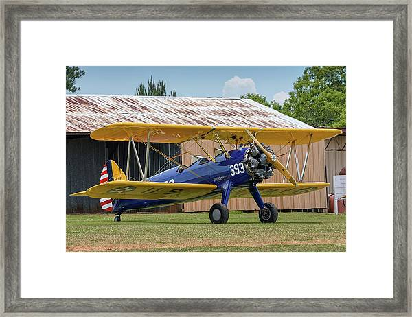 Stearman And Old Hangar Framed Print