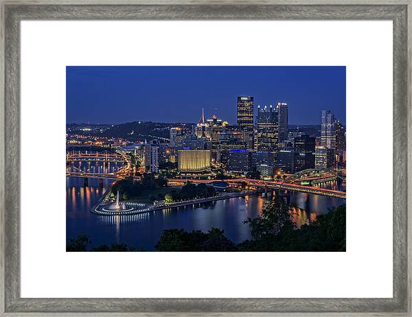 Steel City Glow Framed Print