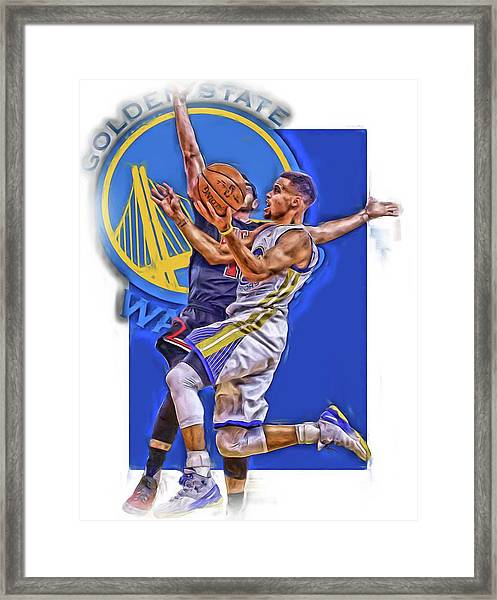 Stephen Curry Golden State Warriors Oil Art Framed Print