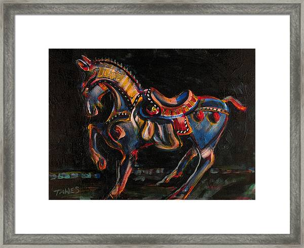 Stepping Off The Carousel Framed Print
