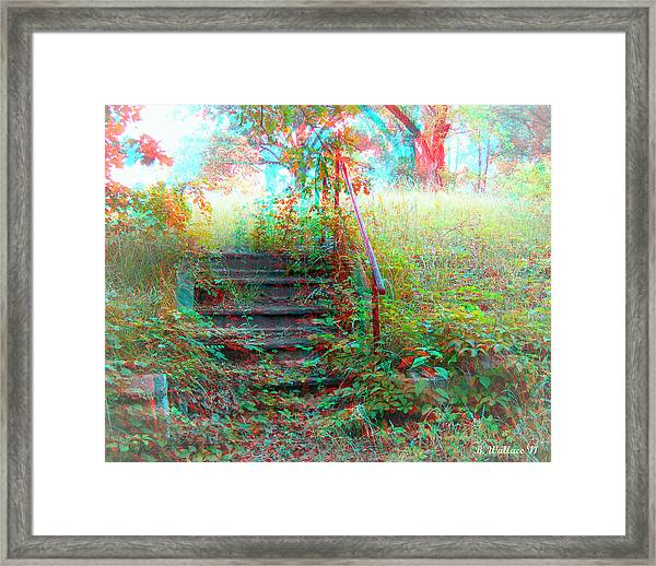 Steps To Yesterday - Use Red-cyan 3d Glasses Framed Print