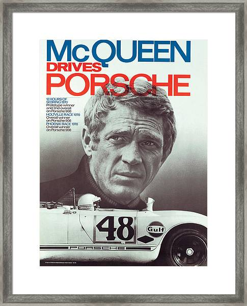 Steve Mcqueen Drives Porsche Framed Print