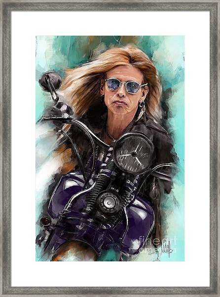 Steven Tyler On A Bike Framed Print
