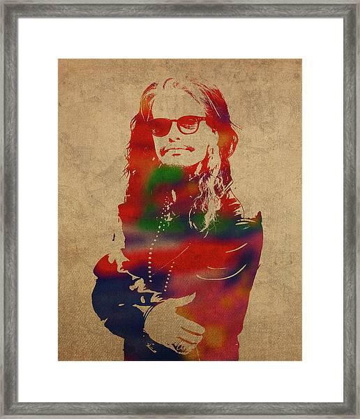 Steven Tyler Watercolor Portrait Aerosmith Framed Print