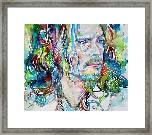 Steven Tyler - Watercolor Portrait Framed Print