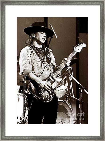 Stevie Ray Vaughan 1984 Sepia Sepia Framed Print