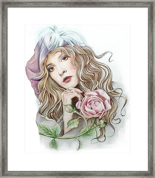 Stevie With Rose Framed Print