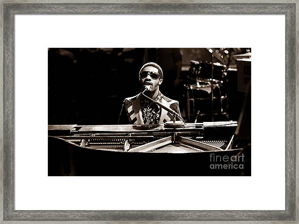 Stevie Wonder Softer Gentle Mood - Sepia Framed Print by Chris Walter
