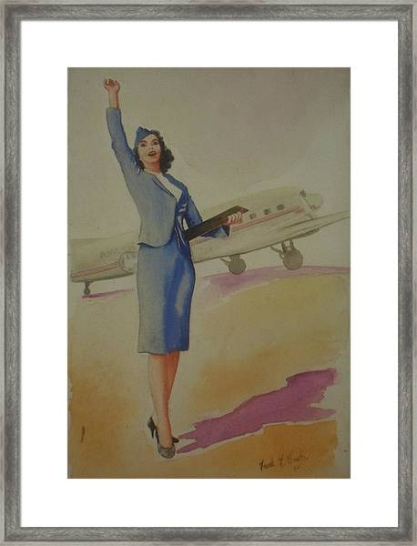 Stewardess And Dc3 Framed Print