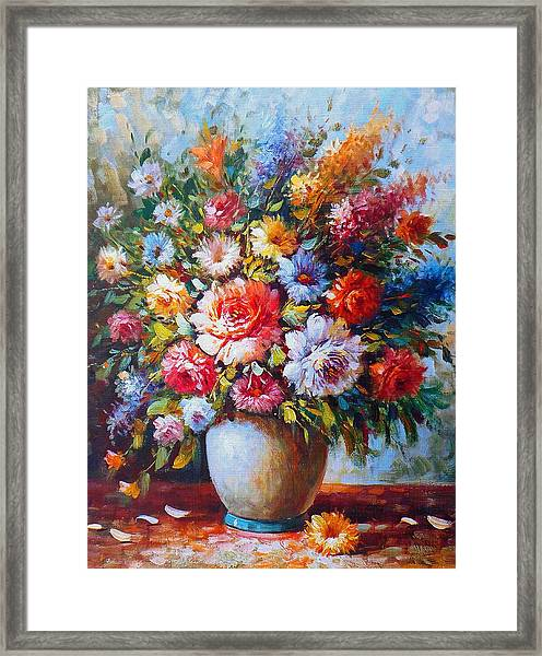 Still Life Colourful Flowers In Bloom Framed Print