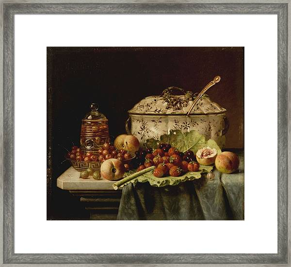 Still Life  Fruit And Dishes  Late 19th Century Oil On Panel Gottfried Schultz  German  1842  1919 Framed Print