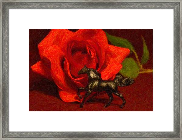 Still Life In Black And Red Framed Print