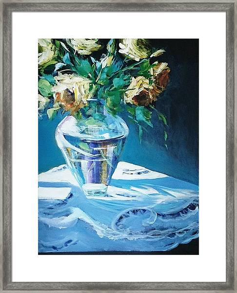 Still Life In Glass Vase Framed Print