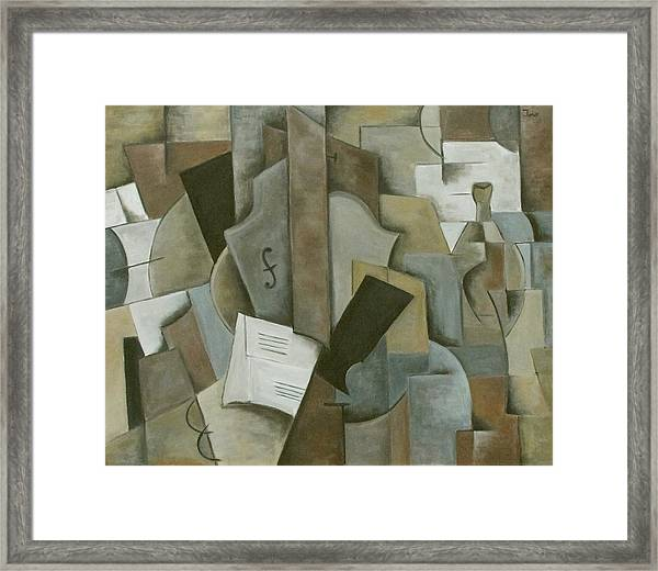 Still Life Music And Bottle Framed Print