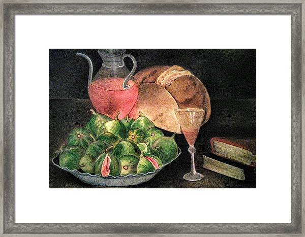 Still Life Of Figs, Wine, Bread And Books Framed Print