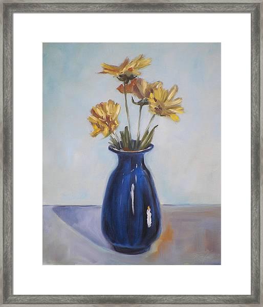 Still Life Of Flowers In Blue Vase Framed Print
