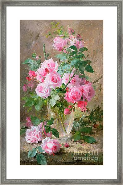 Still Life Of Roses In A Glass Vase  Framed Print