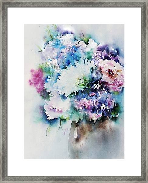 Still Life Rose Bouquet Watercolour Framed Print