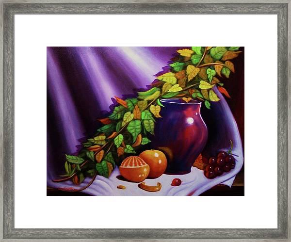 Still Life W/purple Vase Framed Print