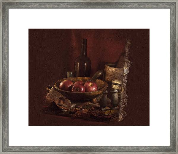 Still Life With Apples, Bottles, Baskets And Shakers. Framed Print
