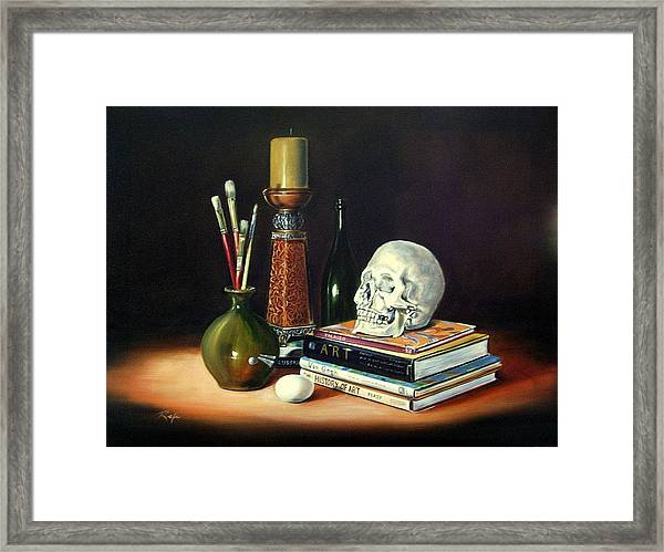 Still Life With Art Books Framed Print